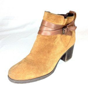 Sam Edelman Camel Suede Strappy Ankle Boots 9.5